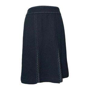 Ann Taylor Womens A-Line Skirt Black White Pin Dot